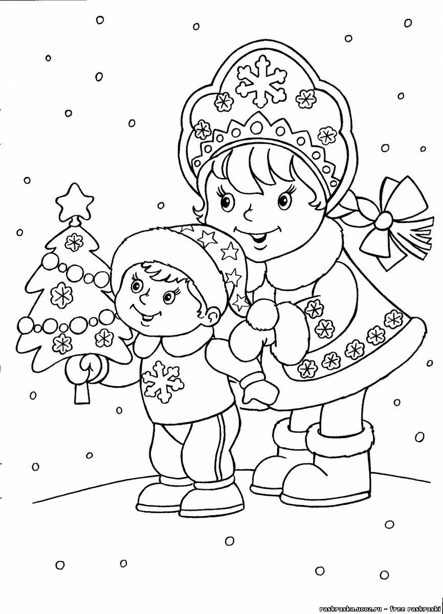 Распечатать раскраски про новый год 2015