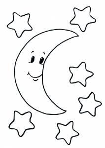 Звездочка и луна раскраска