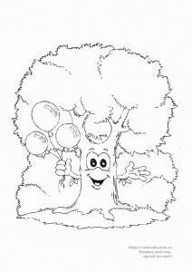 Раскраска весёлое дерево с воздушными шариками - 6 Декабря ...