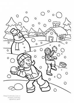 Раскраска дети играют в снежки