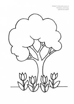 Раскраска дерево и цветы тюльпаны - 14 Ноября 2011 ...