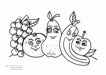 Категория раскраски овощи фрукты