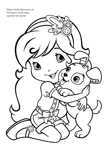 Раскраска девочка с собакой - 29 Августа 2016 - Детские ...