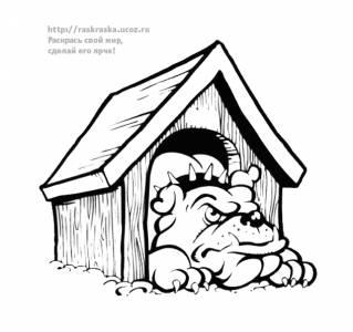 Раскраска собака сидит в будке - 10 Декабря 2009 - Детские ...