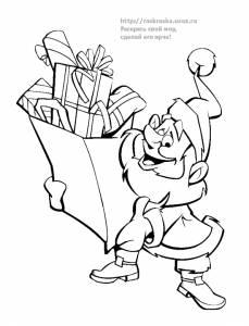 Раскраска веселый Дед Мороз с подарками - 29 Декабря 2009 ...