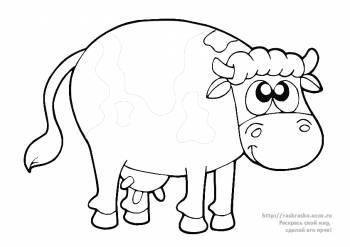 Корова в раскрасках для детей