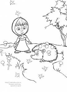 """Раскраска Машенька и ежик с грибами / мультфильм """"Маша и ..."""