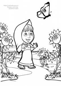 """Раскраска Машенька ловит бабочку / мультфильм """"Маша и ..."""