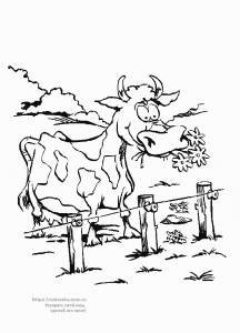 Раскраска корова пасется на лугу - 27 Сентября 2010 ...